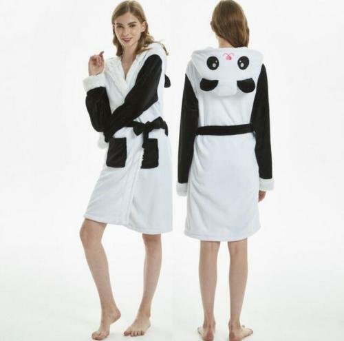 Damen Einhorn Bademantel Kapuzen Morgenrock weiches Fleece warme Nachtwäsche ^/_^