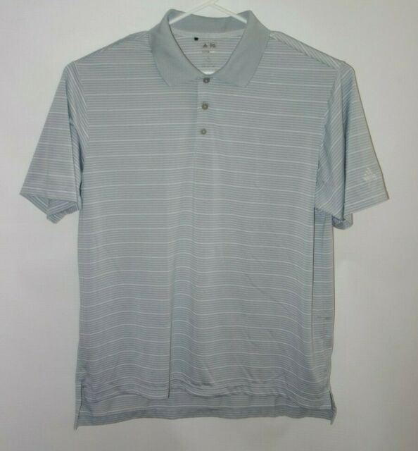 Adidas Climalite Polo Shirt Men XL Gray Stripe Short Sleeve Golf Coach Casual b1