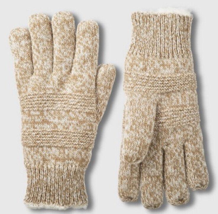 Generous Isotoner Women Sherpasoft Spill Smartdri Textured Knit Winter Glove Camel Os