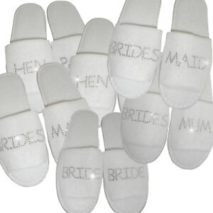 04a0e5bab3389d Image is loading 8-pairs-Personalised-Wedding-Spa-Slippers-Bride-Bridesmaid-