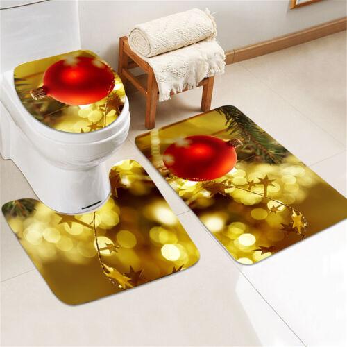 Shower Curtain Home Bath Decor Non-Slip Bathroom Rug Lid Toilet Cover Bath Mat