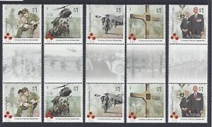 Australia-12016-Vietnam-War-Gutter-Pair-Set-of-5-Stamps-034-Tab-B-034