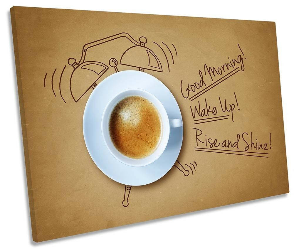 Coffee Wake Up Morning Picture SINGLE CANVAS WALL ART Print
