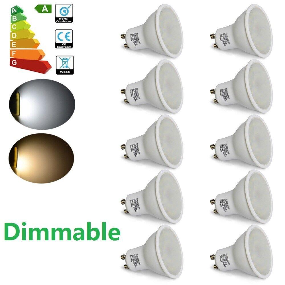 10 20 30X 6W GU10 Foco Led SMD Spot Luz Lámpara Bombilla Día blancoo Cálido Regulable