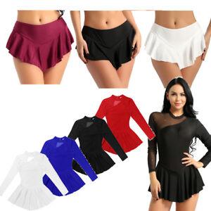 Women-Long-Sleeve-Figure-Latin-Skate-Dress-Ballet-Dance-Gymnastics-Leotard-Skirt