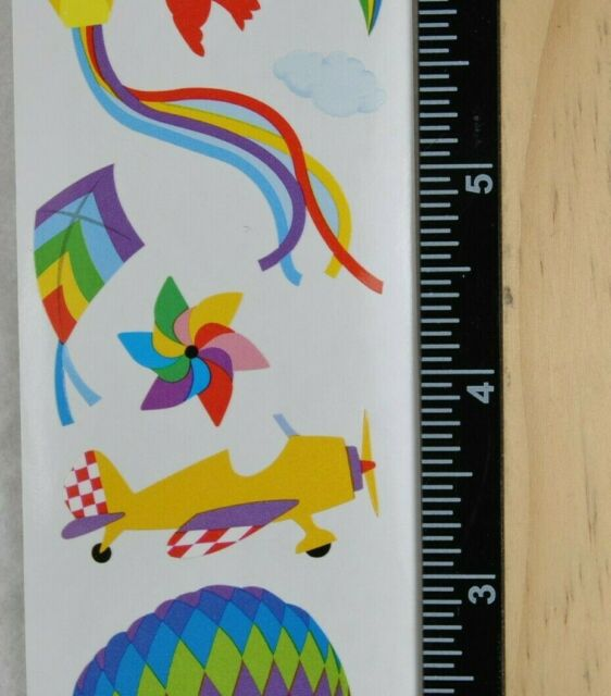 Fly Away Airplane Kite 4 Strips Grossman/'s Stickers Mrs Hot Air Balloon