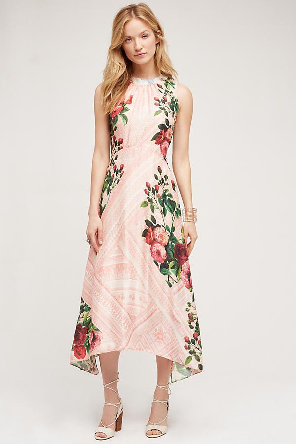 Neuf avec étiquettes Anthropologie papillon Garden Midi robe motif fleuri rose-Pankaj & Nidhi, Sz 6