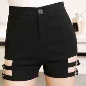 Détails sur femme punk shorts taille haute