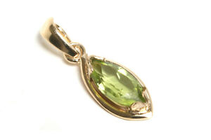 9ct-Gold-Marquise-Peridot-Necklace-Pendant-no-chain-Gift-Boxed-Made-in-UK