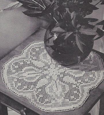 Vintage Crochet PATTERN to make Fancy Shadow Filet Crochet Doily Centerpiece Mat