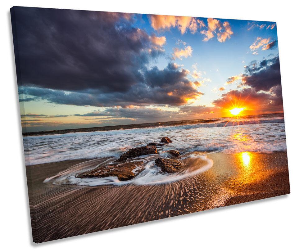 Sunrise Beach Sunset Orange Picture SINGLE CANVAS WALL ART Print