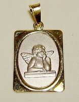 14k Gold 2 Tone Square Guardian Angel Pendant-free Shipping
