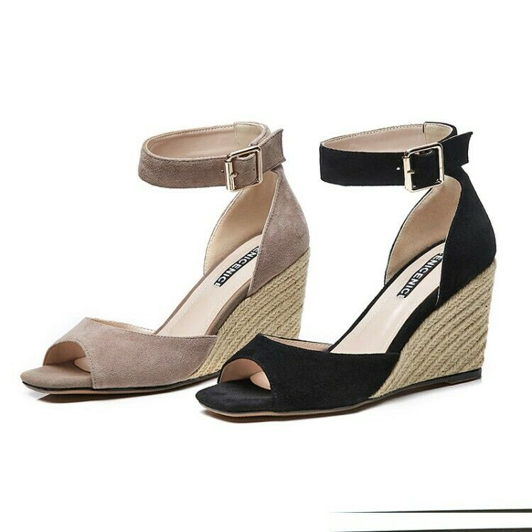 Womens Leather Buckle Ankle Strap Wedge High Heels Sandals Pump Peep Toe shoes