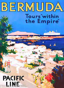 Bermuda Island Tours Empire Caribbean Vintage Travel Advertisement Art Poster