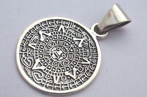 Taxcomexican 925 sterling silver aztec calendar pendant top with image is loading taxco mexican 925 sterling silver aztec calendar pendant aloadofball Image collections