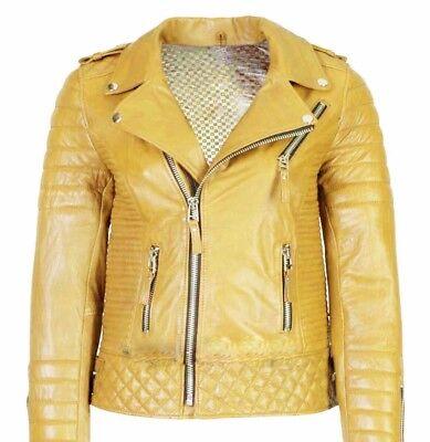 Men/'s Genuine Lambskin Leather Jacket Red Slim fit Biker Motorcycle jacket-24