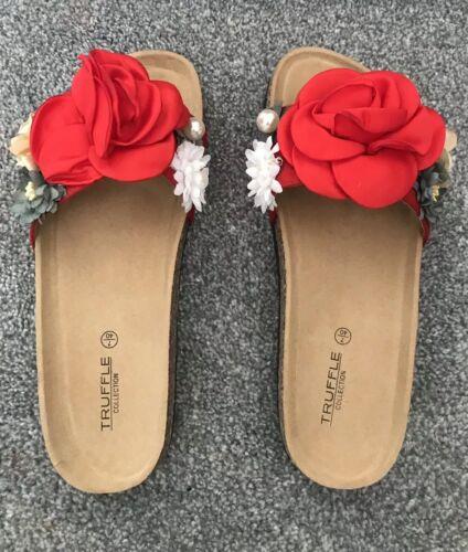 Femmes Femmes CREATEUR rouge à fleurs CURSEURS//Sandales Taille 4 Entièrement neuf dans sa boîte