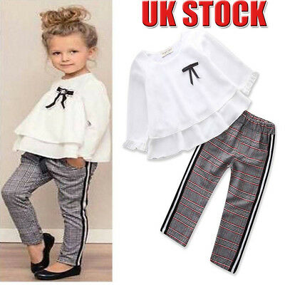Toddler Baby Girls Kids Chiffon Tops T-shirt+Long Trousers Pants Clothes Outfits