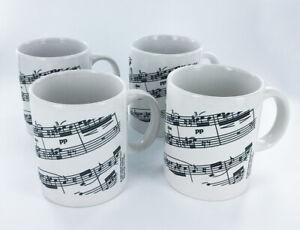 Black-and-White-Sheet-Music-Notes-Coffee-Mug-10-oz-Set-of-4-NEW-Musical-Mugs
