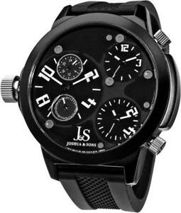 Joshua-amp-Sons-JS-40-WT-Swiss-Quartz-Triple-Time-Zone-Silicone-Strap-Mens-Watch