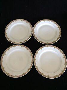 Lot-of-4-Vintage-A-Lanternier-Limoges-France-8-inch-plates-Gold-rim