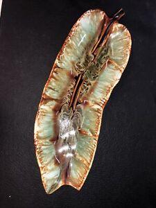 VTG Ceramic Banana Leaf Serving Dish Plate Tray CALIF Style USA Brown / Green