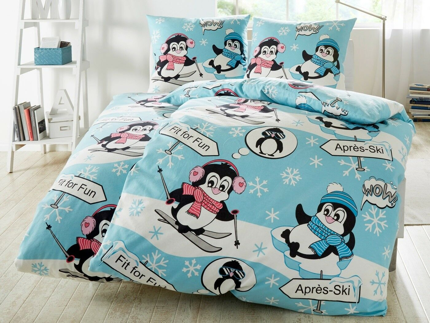 Bettwäsche Pinguin Biber 135x200 hellblau Baumwolle Winter Apres Ski Fit for Fun