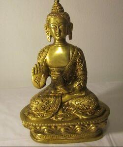 GIFT-DECOR-BLESSING-BUDDHA-INTRICATE-CARVED-BRASS-SHAKYAMUNI-BUDDHA-STATUE