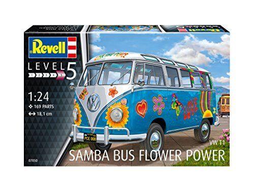 Volkswagen VW T1 Samba Bus  FLOWER POWER  Figli dei Fiori Plastic Kit 1 24 Model