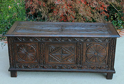 Antique English Dark Oak Carved Blanket Box Trunk Chest Coffee Table Coffer