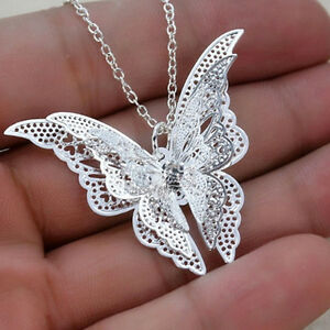 Silver-Plated-Lovely-3D-Butterfly-Pendant-Chain-Necklace-Women-Jewelry-TB