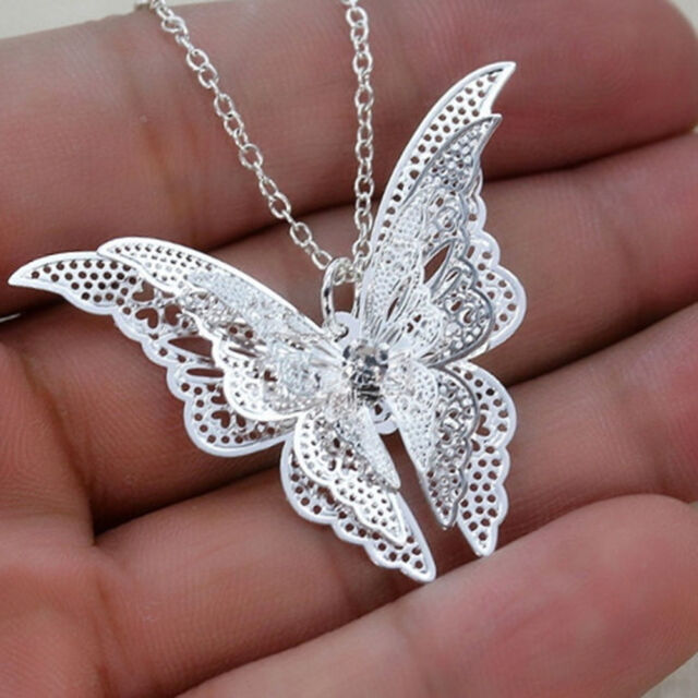 Silver Plated Lovely 3D Butterfly Pendant Chain Necklace Women Jewelry PT
