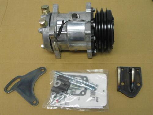 SB Chevy Low Mount A//C Bracket w V-Belt Air Compressor SWP Alan Grove 109R SBC