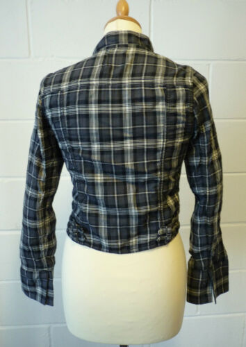 SALE h162 NEW WOMENS FLY53 /'NOMAD/' INDIE CHECK CROPPED BIKER JACKET GREY