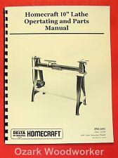 Homecraft Delta 10 Wood Lathe Operating Amp Parts Manual 0941