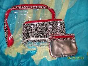 Glitter-Glimmer-Makeup-Bags-Red-Silver-Set-of-3-bags-NEW