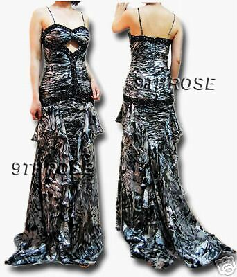 GORGEOUS FLORAL PRINTS BEADED FORMAL//EVENING//PROM LONG DRESS; CHARCOAL 12 14