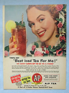 1949-Magazine-Advertisement-Page-For-A-amp-P-Stores-Tea-Bags-Iced-Tea-Woman-Ad