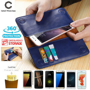 Fashion-Real-Leather-For-Apple-iPhone-X-6-6s-8-7-Plus-Case-Wallet-Card-Pouch-Bag