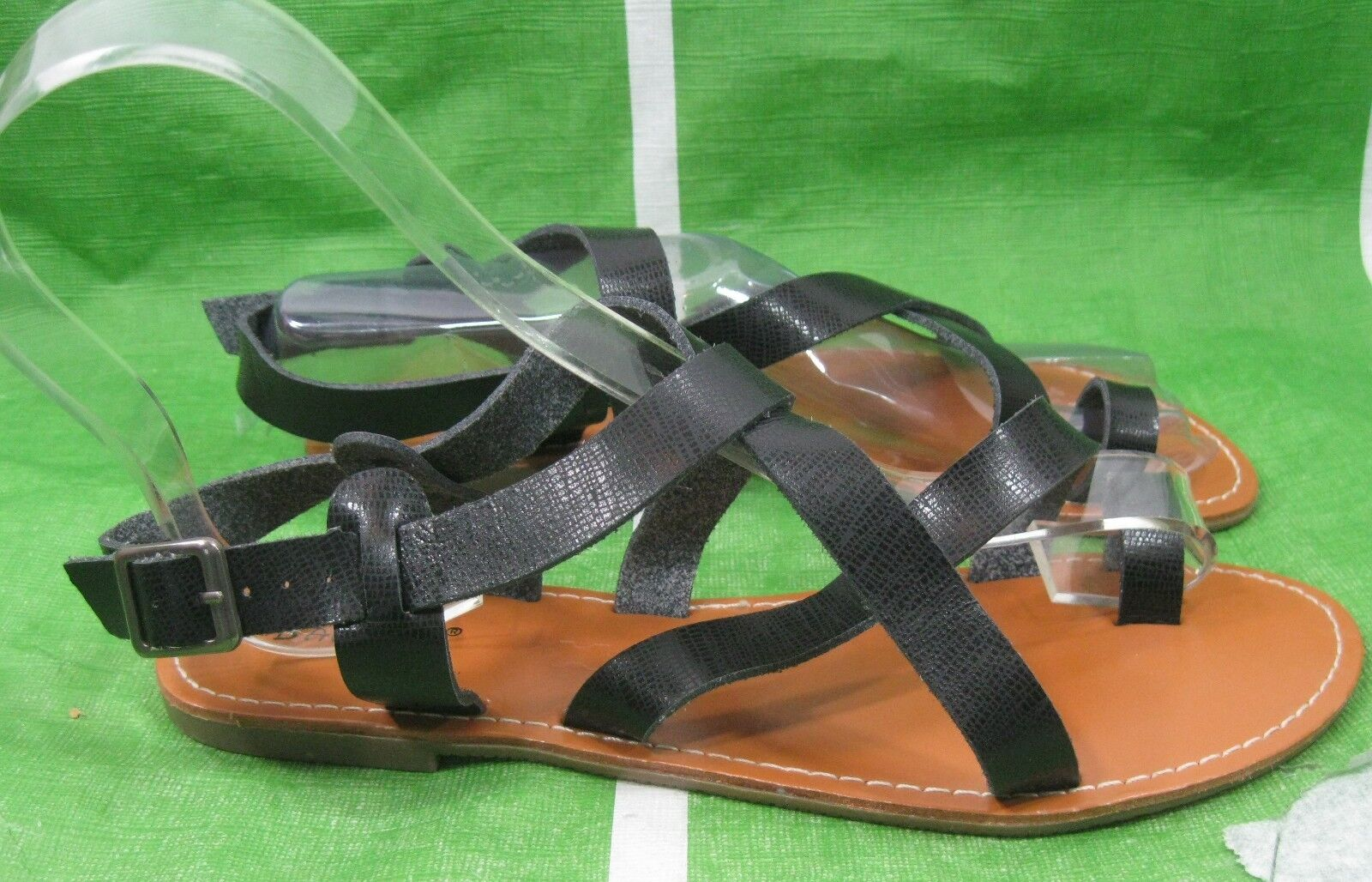 Summer Black Womens Shoes Ankle Strap Sexy 7 Flat Sandals Shoes Size 7 Sexy ac45a3