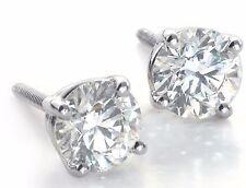 1.00 CARAT D/SI1 CERTIFIED ROUND CUT DIAMOND STUD EARRINGS 14K WHITE GOLD