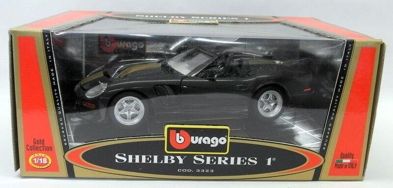 Burago 1 18 scale DIECAST - 3323 Shelby series 1 negro oro Model Coche