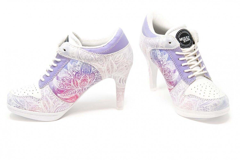 MISSY ROCKZ mit Sport High Heels WONDERFUL LOTUS Weiß/ purple mit ROCKZ 8,5 cm Absatz 4f60de
