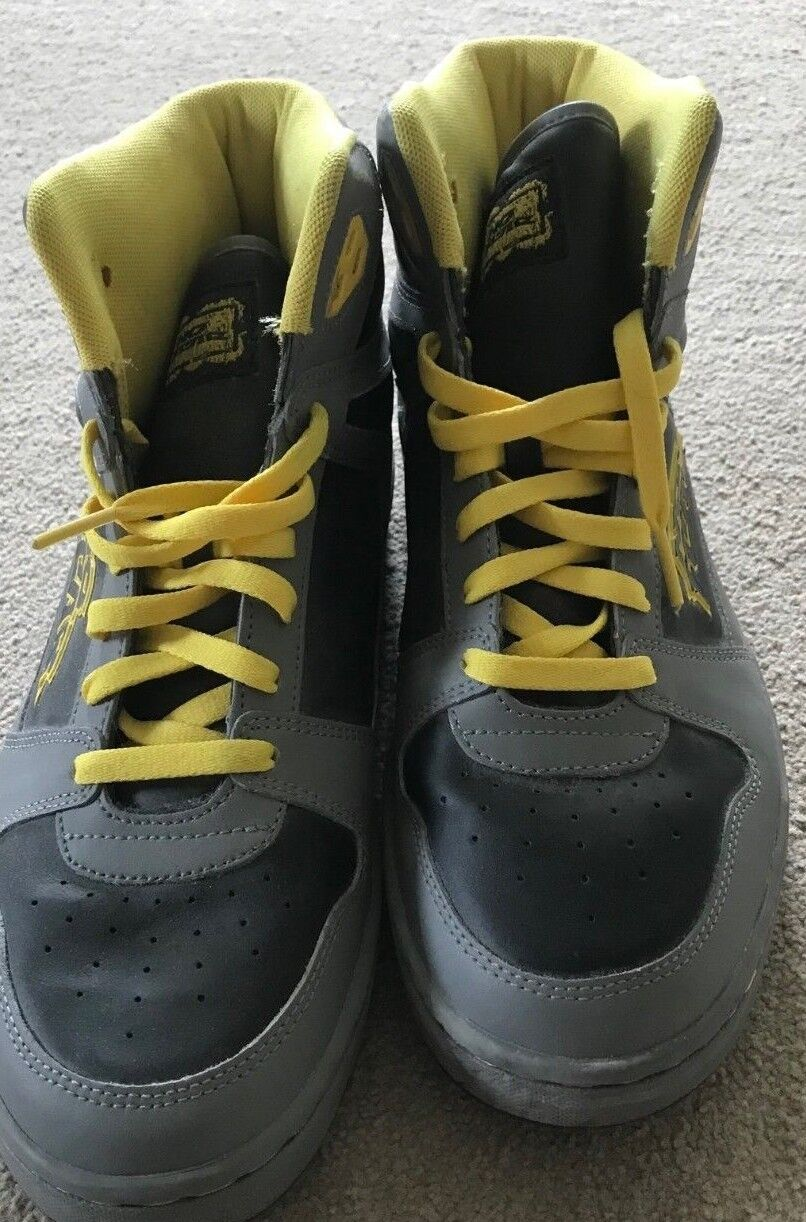 Nike High Top Trainers NO FEAR Creps black and yellow size 9 uk used