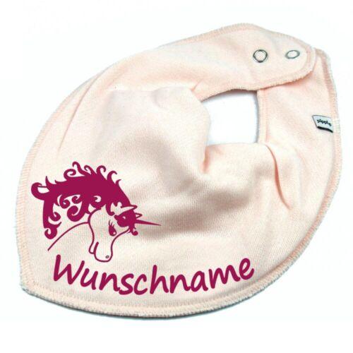 HALSTUCH Einhorn mit Namen oder Text personalisiert für Baby oder Kind Farbwahl