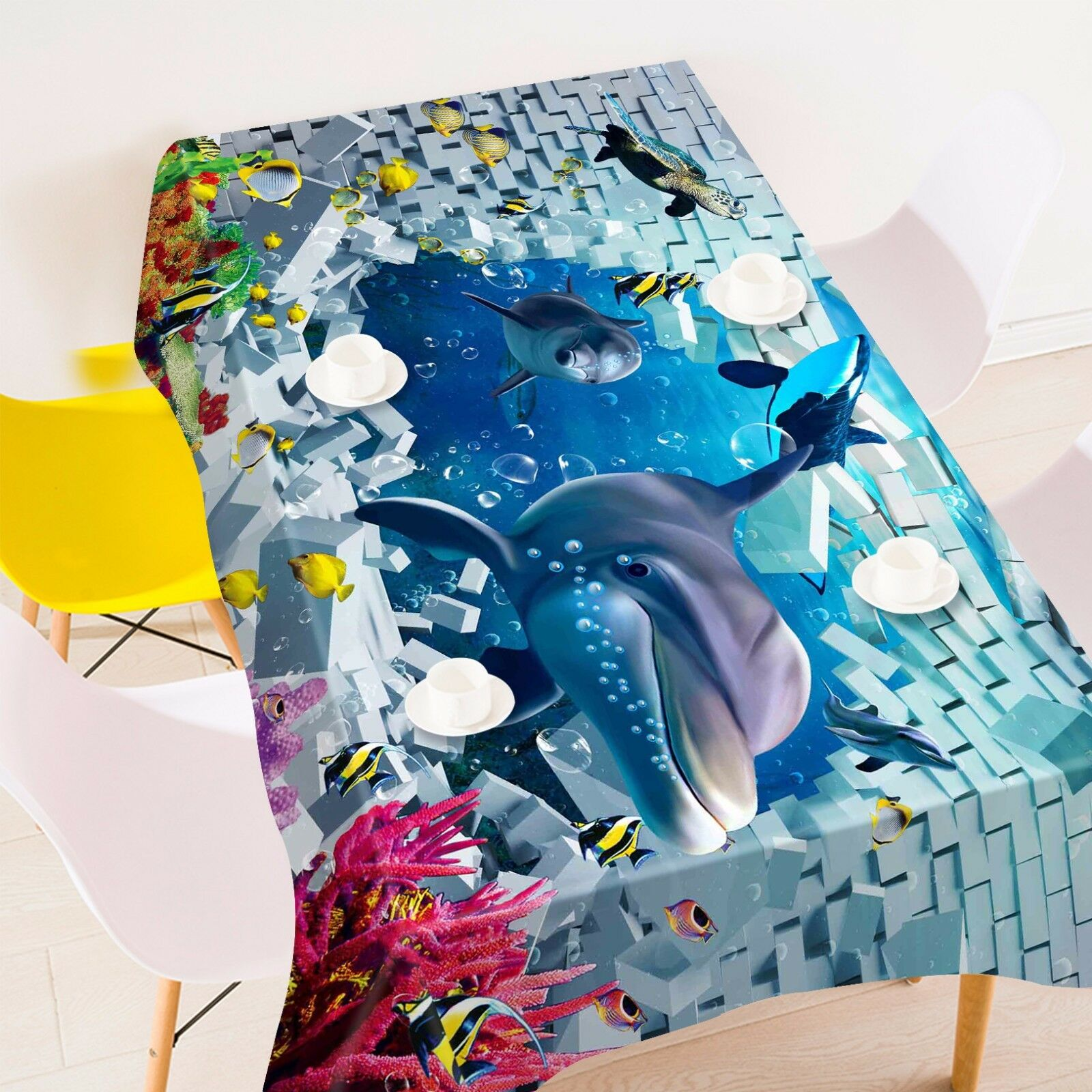 3D Dolphin 738 Tablecloth Table Cover Cloth Birthday Party Event AJ WALLPAPER AU