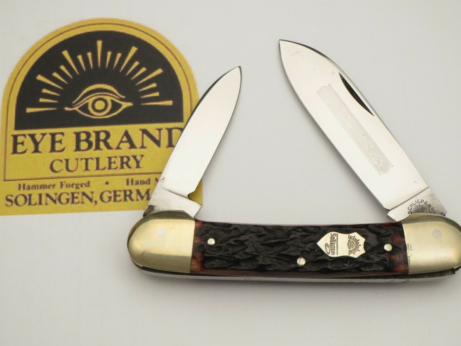 Vintage EYE BRAND Solingen Scarce Canoe Pocket Knife Bone Handles Unused N Mint