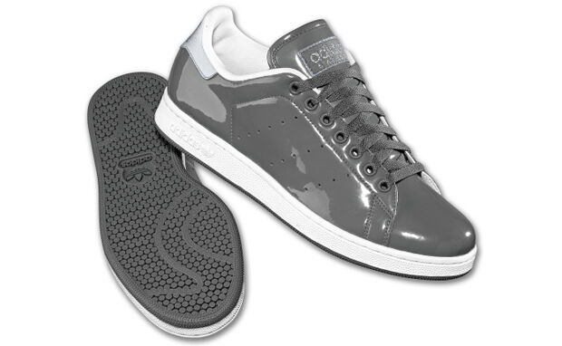 ADIDAS STAN SMITH 2 PATENT LEATHER GRAY WHITE NWT LIMITED RELEASE SIZE 12