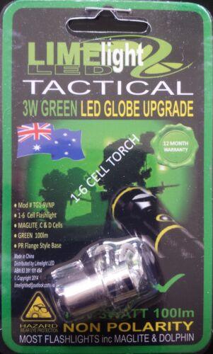 MAGLITE UPGRADE LED GREEN 1-9V 3W CREE BULB GLOBE DOLPHIN FLASHLIGHT TORCH AU