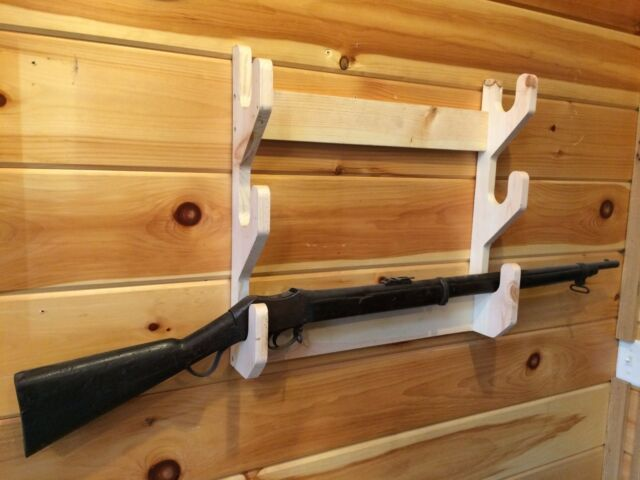 Solid Wood 3 Place Gun Rack Rifle Shotgun Wall Mount